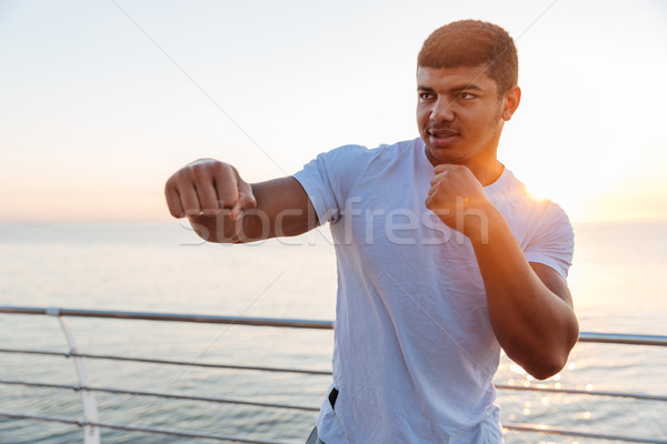 Muscular african man athlete practicing martial arts on sunrise Stock photo © deandrobot