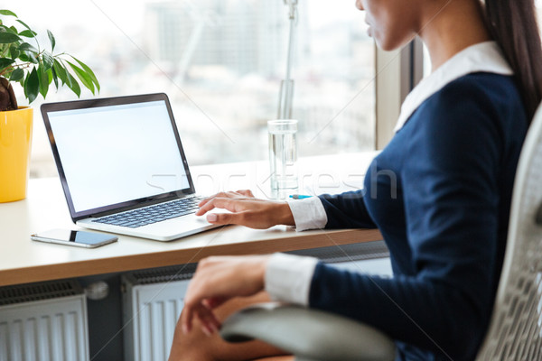 Cropped image of business woman using laptop Stock photo © deandrobot