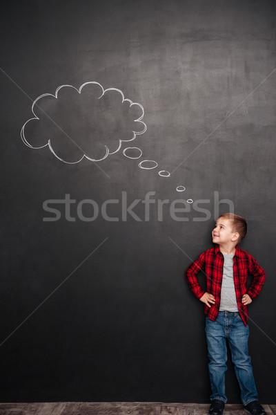 子供 思考 思考バブル 黒板 見える 絵画 ストックフォト © deandrobot