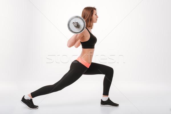молодые фитнес Lady штанга фотография Сток-фото © deandrobot