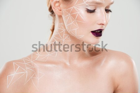 Cropped image of girl with body art Stock photo © deandrobot
