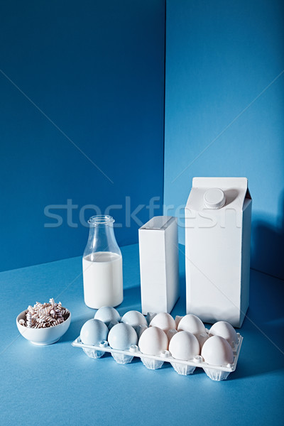 Bottle of milk , two blank boxes, eggs and uncooked pasta Stock photo © deandrobot