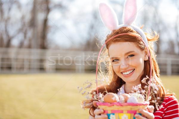 Zdjęcia stock: Portret · szczęśliwy · czerwony · głowie · dziewczyna