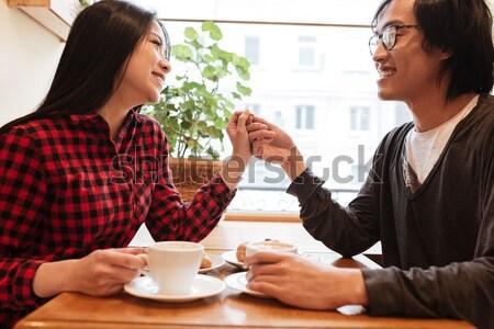 Stockfoto: Gelukkig · asian · jonge · liefhebbend · paar · vergadering