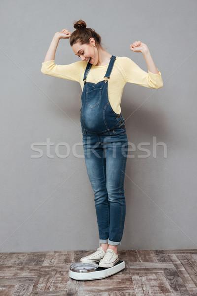 Stock fotó: Boldog · terhes · hölgy · áll · mérleg · fotó