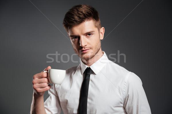 Stockfoto: Portret · knap · jonge · zakenman · beker · koffie