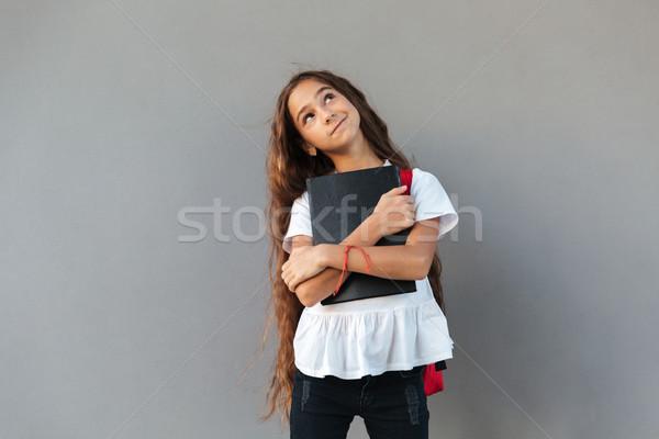 笑みを浮かべて 沈痛 ブルネット 女学生 長髪 ストックフォト © deandrobot