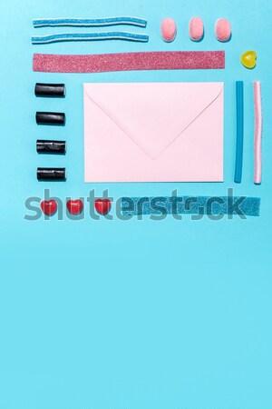 Közelkép fotó rajz vonalak kék pasztell Stock fotó © deandrobot