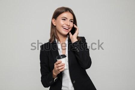 Stockfoto: Portret · vrolijk · lachend · zakenvrouw · pak