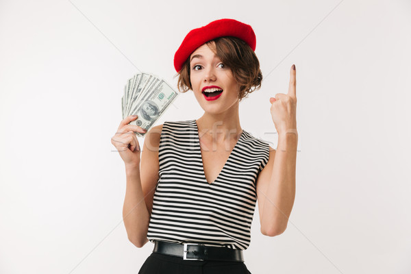 Portrait of an excited woman wearing red beret Stock photo © deandrobot