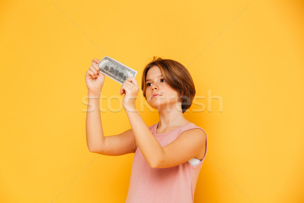 Serious confident girl looking at banknote and checking it isolated Stock photo © deandrobot