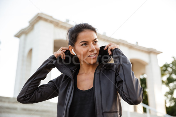 портрет молодые Фитнес-женщины спортивная одежда ходьбе Сток-фото © deandrobot