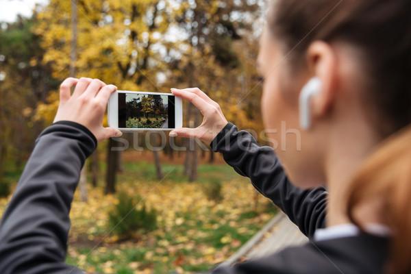 Fitness vrouw foto jogging Stockfoto © deandrobot