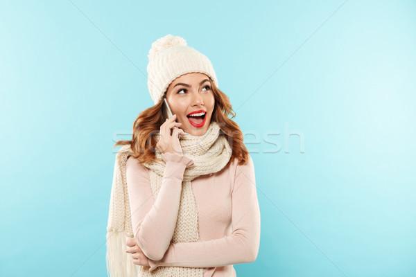Stock fotó: Közelkép · portré · mosolyog · fiatal · lány · kalap · sál