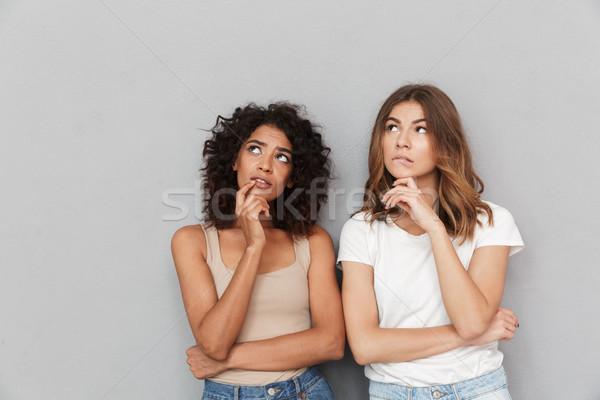 Portret twee peinzend jonge vrouwen geïsoleerd Stockfoto © deandrobot