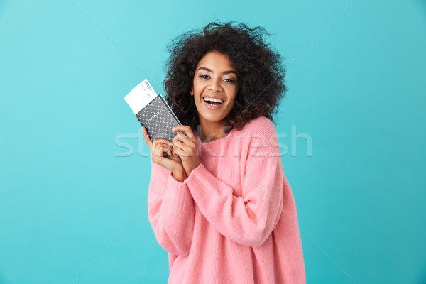 Portrait of happy excited woman 20s with afro hairstyle rejoicin Stock photo © deandrobot