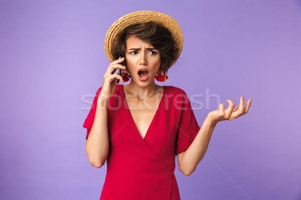 довольно брюнетка женщину платье соломенной шляпе Сток-фото © deandrobot