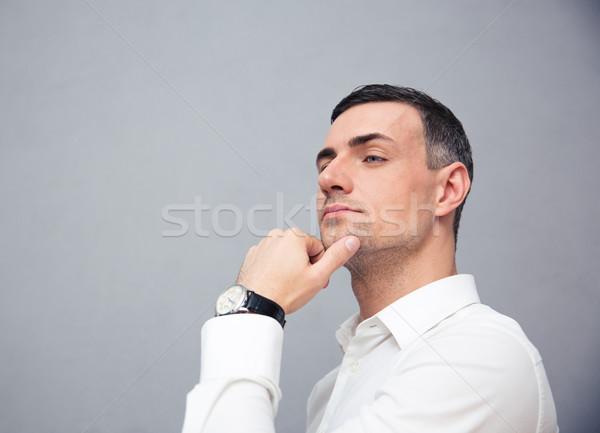 Portret peinzend zakenman grijs mode Stockfoto © deandrobot