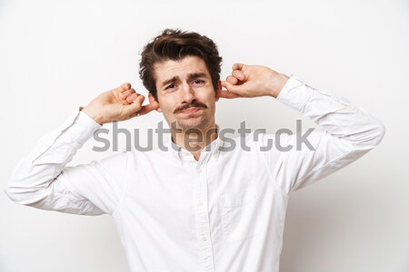 Man smelling sniffing his armpit Stock photo © deandrobot