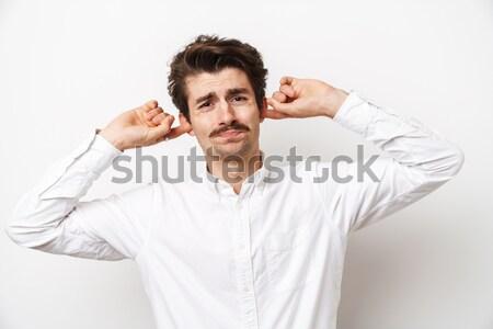 Man oksel iets slechte geïsoleerd witte Stockfoto © deandrobot