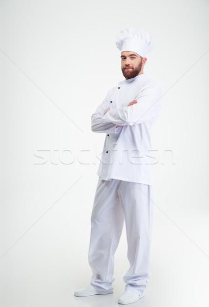 Mannelijke chef kok permanente handen Stockfoto © deandrobot