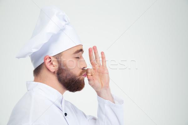 Stockfoto: Mannelijke · chef · kok · iets · vingers · portret