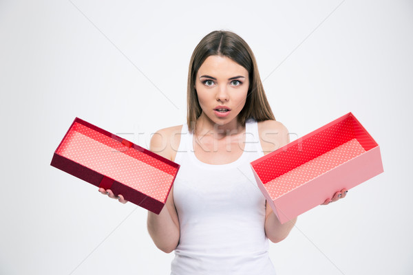 Portrait of a young girl holding empty gift box Stock photo © deandrobot