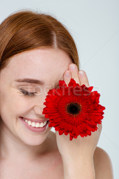 Belleza retrato mujer sonriente flor aislado blanco Foto stock © deandrobot