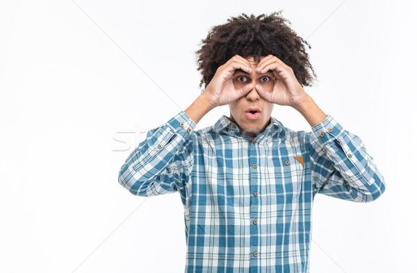 Foto stock: Homem · cabelos · cacheados · olhando · distância · retrato · africano