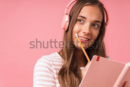 笑みを浮かべて 魅力のある女性 話し 電話 肖像 見える ストックフォト © deandrobot