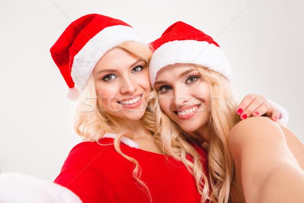 Portré kettő bájos szőke nő nővérek ikrek Stock fotó © deandrobot
