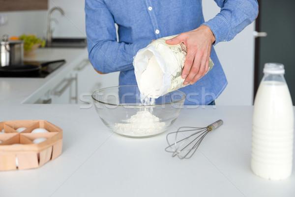 Сток-фото: человека · синий · рубашку · кухне · домой