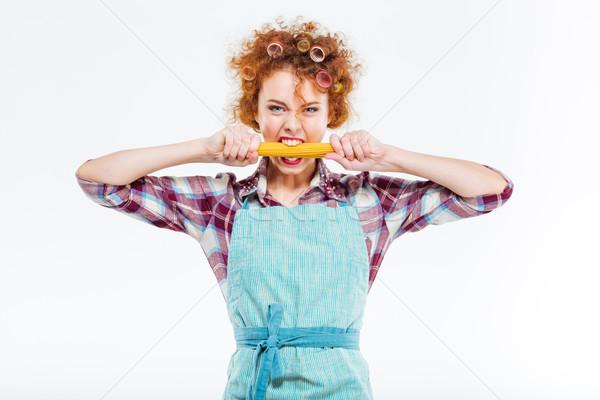 魅力的な 主婦 かむ スパゲッティ 赤毛 ストックフォト © deandrobot