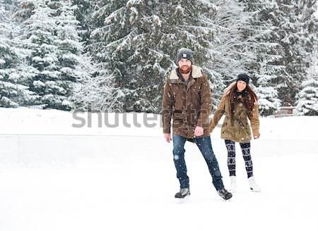 Ao ar livre retrato feliz casal menina Foto stock © deandrobot
