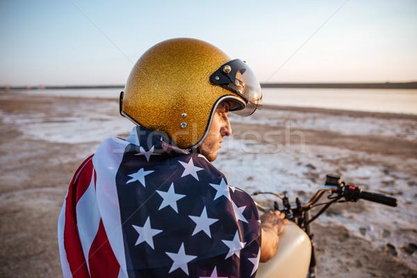 肖像 男 着用 ヘルメット アメリカンフラグ ストックフォト © deandrobot
