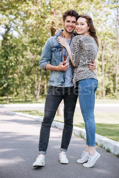 портрет счастливым романтические пару дата улице Сток-фото © deandrobot