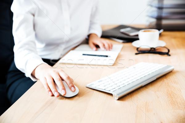 Afbeelding handen toetsenbord muis kantoor telefoon Stockfoto © deandrobot
