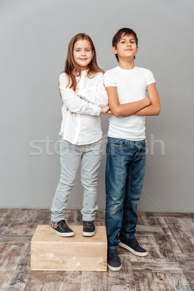 Happy little girl standing on box near tall smiling boy Stock photo © deandrobot