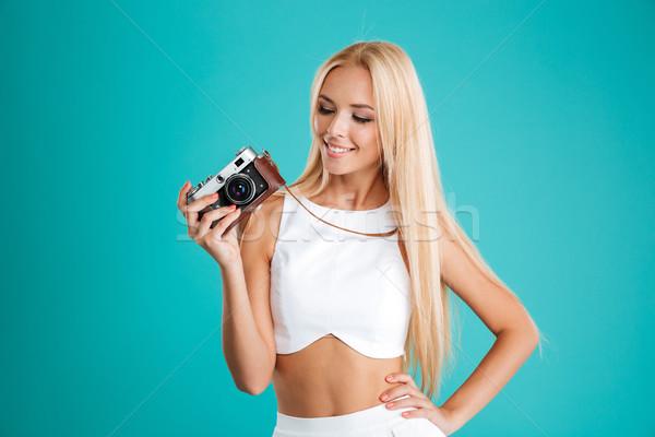 美しい 長髪 レトロな カメラ ストックフォト © deandrobot