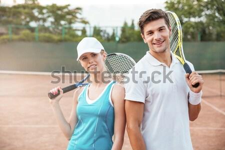小さな テニス カップル 画像 後ろ 男 ストックフォト © deandrobot