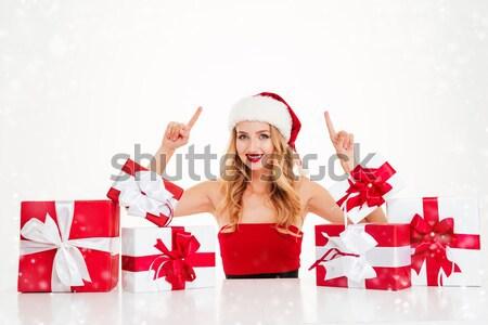 ストックフォト: 女性 · サンタクロース · 衣装 · ギフトボックス · かなり