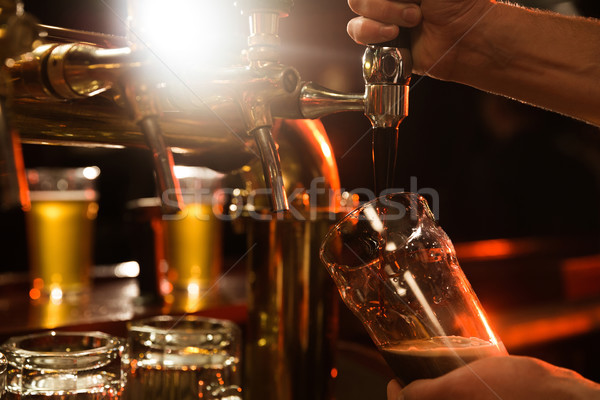 Close up of a bartender pouring beer Stock photo © deandrobot
