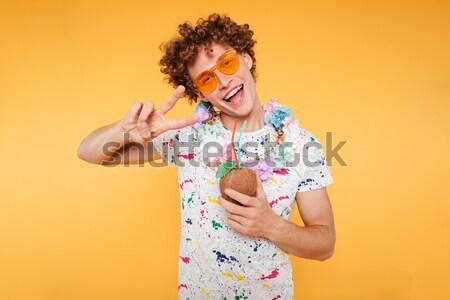 Feliz excitado sin camisa hombre Foto stock © deandrobot