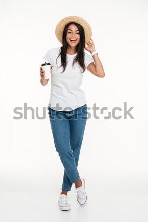 Portret szczęśliwy atrakcyjna kobieta hat Zdjęcia stock © deandrobot