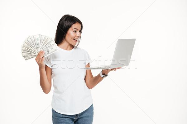 Сток-фото: портрет · радостный · красивая · женщина · портативного · компьютера
