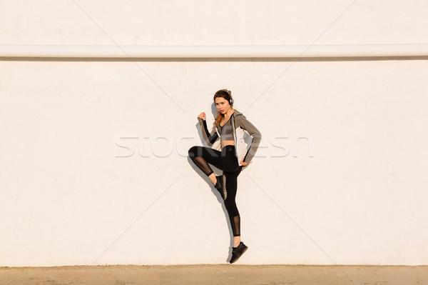 Stock fotó: Teljes · alakos · fotó · fiatal · sport · nő · ugrik
