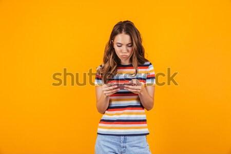 довольно Lady скейтборде позируют изолированный Сток-фото © deandrobot