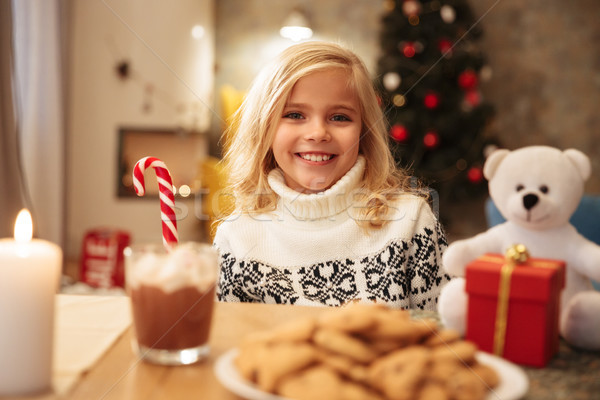 Gelukkig weinig blond meisje snoep riet Stockfoto © deandrobot