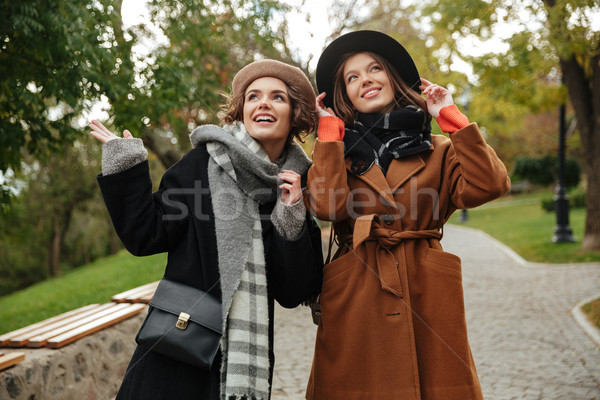 Due felice ragazze autunno vestiti piedi Foto d'archivio © deandrobot