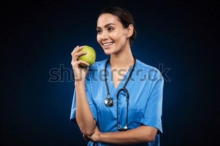 Сток-фото: счастливым · здорового · врач · зеленый · яблоко